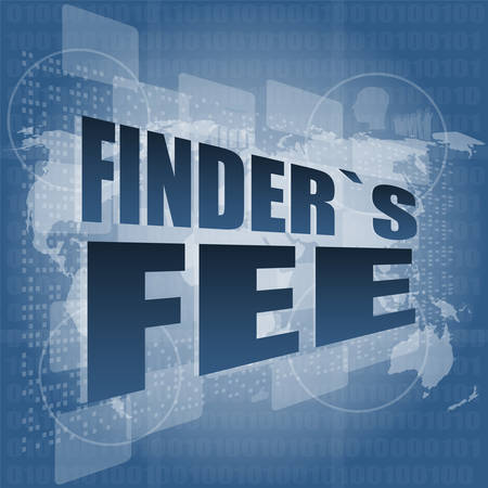 fee: finder fee word on digital touch screen vector illustration Illustration