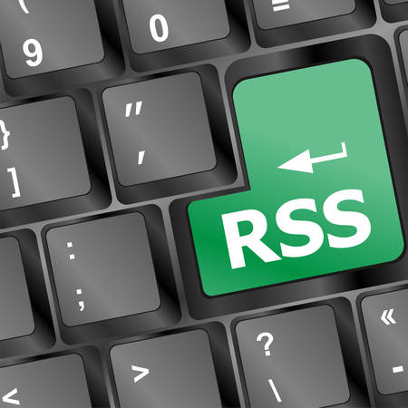 net bar: RSS button on keyboard close-up vector illustration