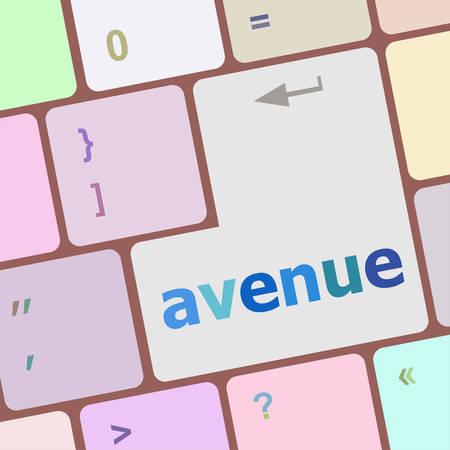 avenue: avenue word on keyboard key, notebook computer vector illustration