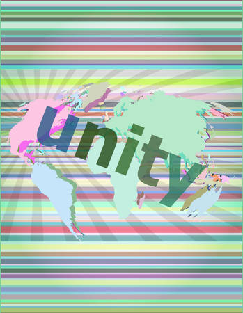 unity text on digital touch screen - business concept vector illustration