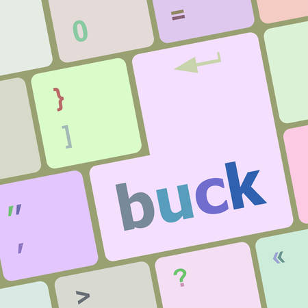 buck: button with buck word on computer keyboard keys vector illustration Illustration