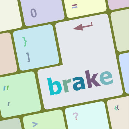 brake pad: brake button on computer pc keyboard key vector illustration Illustration