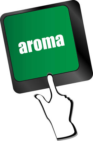 aroma: Button with aroma on Computer Keyboard key Illustration