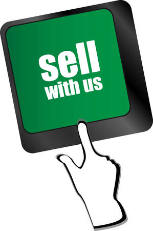equities: sell with us message on keyboard key, to sell something or sell concept,