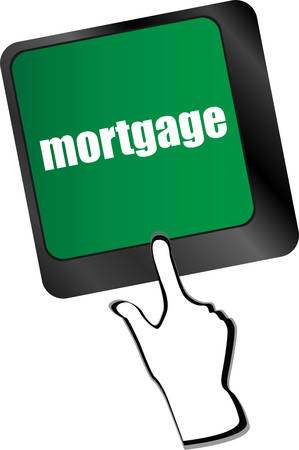 single word: Keyboard with single button showing the word mortgage
