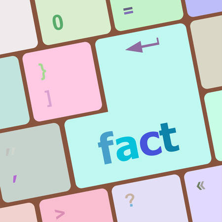 fact: fact button on keyboard - business concept, raster vector illustration Illustration