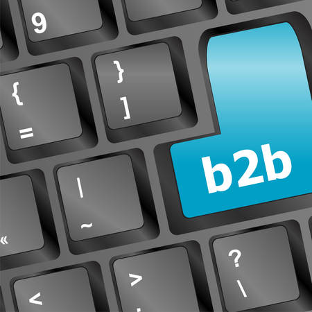 b2b: word b2b on digital keyboard vector illustration