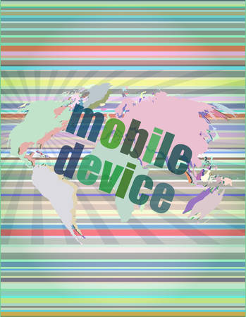 mobile devices: word mobile devices on digital screen 3d vector illustration Illustration