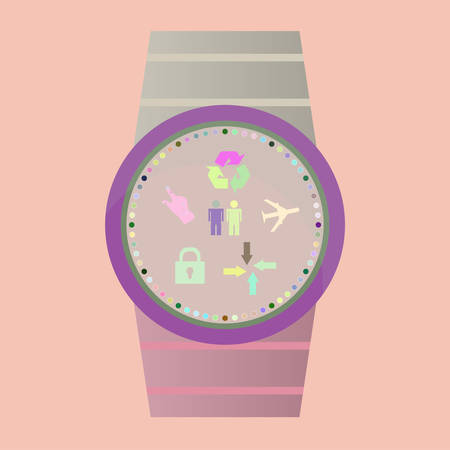 smartly: Smart watch with flat icons. Vector illustration.