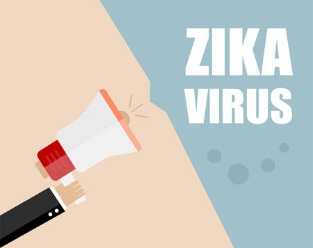 contagion: Hand holding megaphone - Attention ZIKA virus, vector illustration Illustration