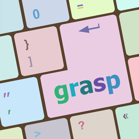 grasp: Computer keyboard button with grasp button vector illustration