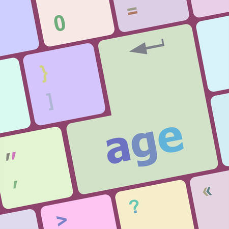 technologie: age keyboard key button showing forever young concept vector illustration