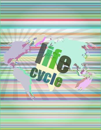 life cycle words on digital touch screen vector illustration