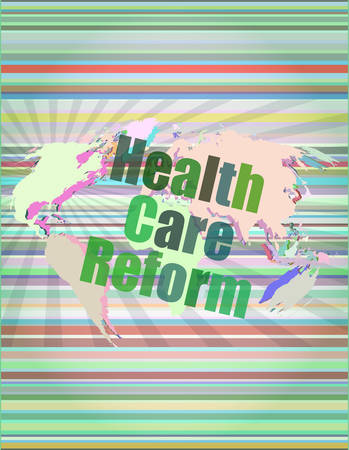 reform: health care reform word on touch screen, modern virtual technology background vector illustration