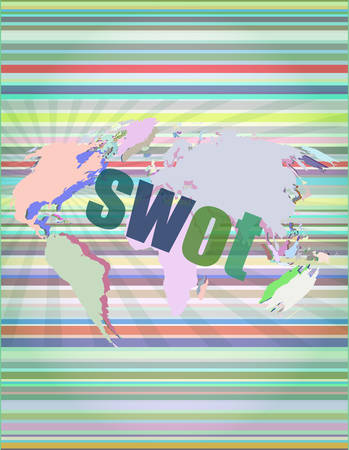 swot word on touch screen, modern virtual technology background vector illustration