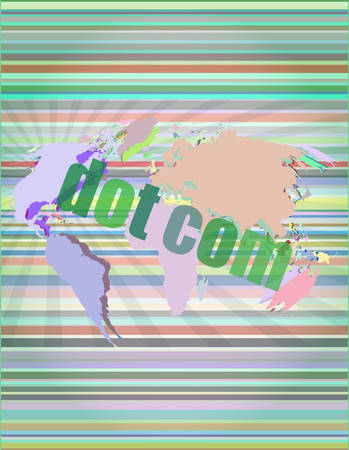 dot com: words dot com on digital screen, information technology concept vector illustration