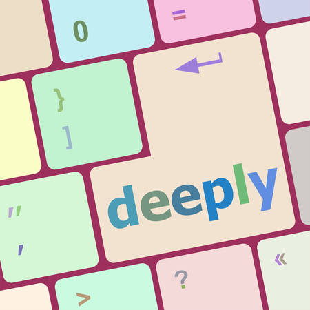 deeply: deeply word on keyboard key, notebook computer button vector illustration