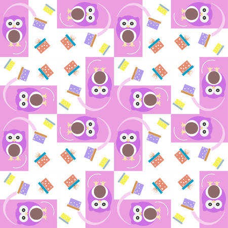baby girl arrival: Vector cute owl card. Baby girl arrival announcement card. Seamless pink background pattern