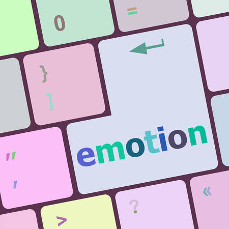 dissatisfaction: Computer keyboard with emotion key - business concept, raster vector illustration