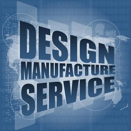 バイナリ デジタル タッチ画面ベクトル図に設計製造サービスの言葉