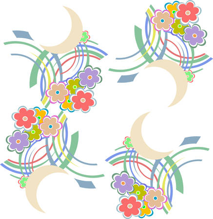 summery: Vector seamless pattern with flowers and leaves. Floral colorful summery background vector background