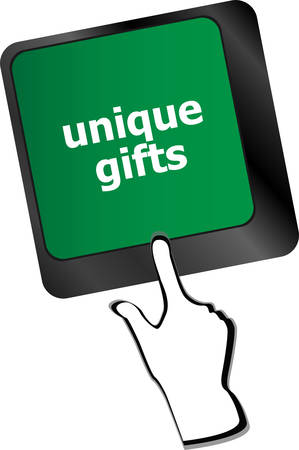 keyboard keys: unique gifts, events button on the keyboard keys - holiday concept