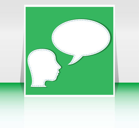 talk big: Abstract speakers silhouettes with big orange bubble (chat, dialogue, talk or discussion) vector background