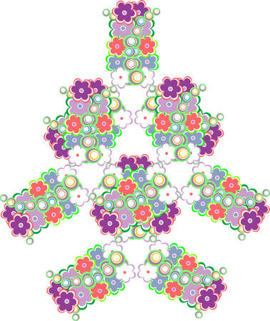 abstract tree made from cute vector flowers vector background
