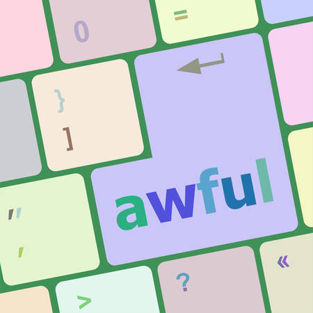 awful: awful word on keyboard key, notebook computer vector illustration