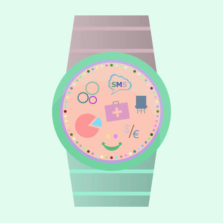 wristbands: Smart watch with flat icons. Vector illustration.