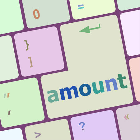 amount: Keyboard with white Enter button, amount word on it vector illustration Illustration
