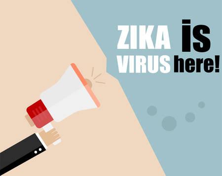 skin infections: Hand holding megaphone - Attention ZIKA virus, vector illustration Illustration