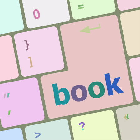 computer button: book word on keyboard key, notebook computer button vector illustration Illustration