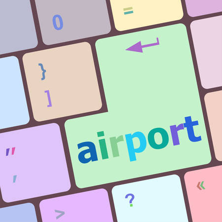 e ticket: airport on computer keyboard key enter button vector illustration Illustration
