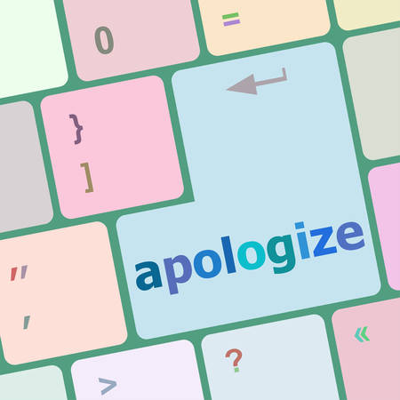 apologize: keyboard keys with enter button, apologize word on it vector illustration Illustration