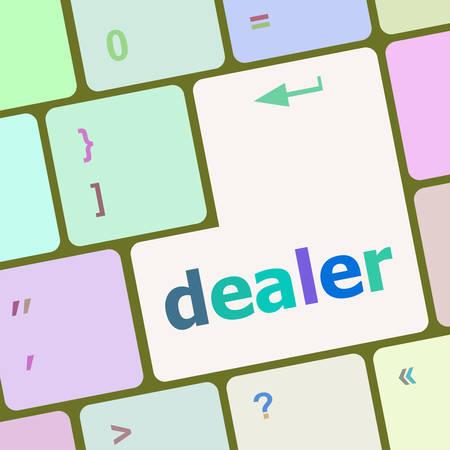 dealer: dealer button on keyboard with soft focus vector illustration Illustration