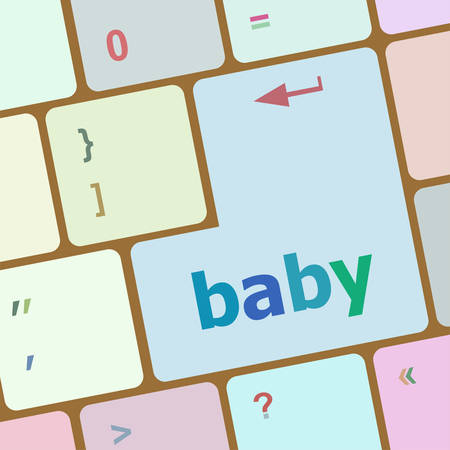 computer button: Keyboard with baby word on computer button vector illustration