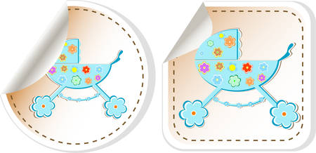 perambulator: Baby carriage icon - baby boy perambulator vector illustration Illustration