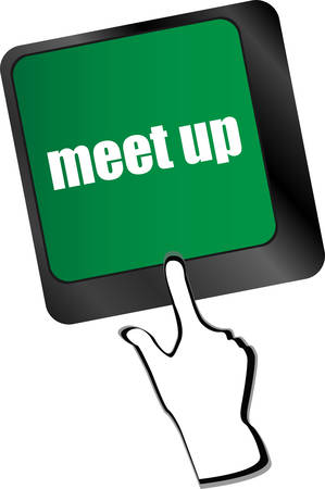 meet up: Meeting (meet up) sign button on keyboard with soft focus