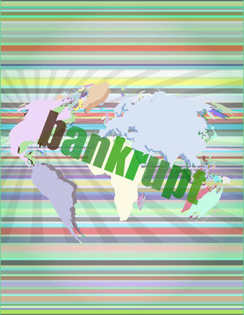 bankrupt word on touch screen, modern virtual technology background vector illustration