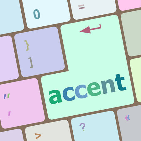 accent: accent on computer keyboard key enter button vector illustration