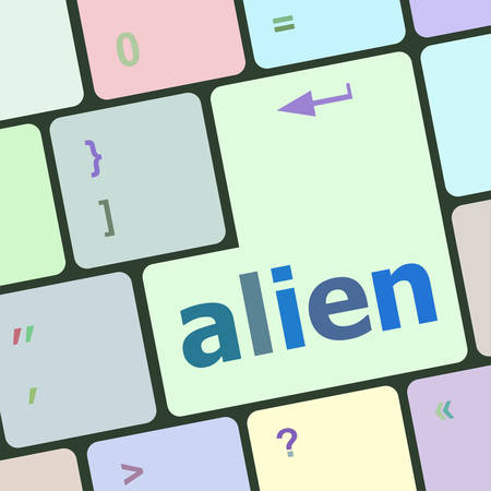 hijack: alien on computer keyboard key enter button vector illustration