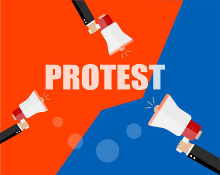 protest design: Hands holding protest signs and bullhorn, crowd of people protesters background, political, politic crisis poster, fists, revolution placard concept symbol flat style modern design vector illustration