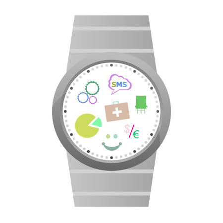 wristbands: Smart watch with flat icons. Vector illustration. isolated on white Illustration