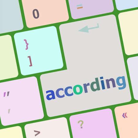 according: according on computer keyboard key enter button vector illustration Stock Photo