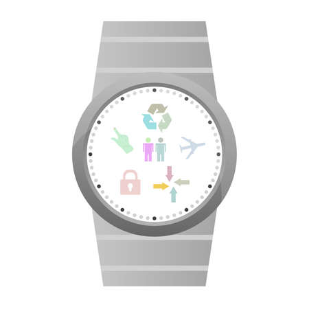 wristbands: Smart watch with flat icons. Vector illustration. isolated on white Stock Photo