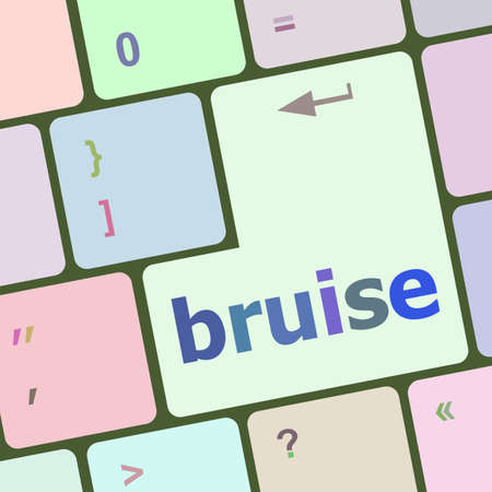 bruise: button with bruise word on computer keyboard keys vector illustration