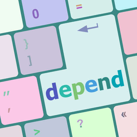 depend: depend button on computer pc keyboard key vector illustration
