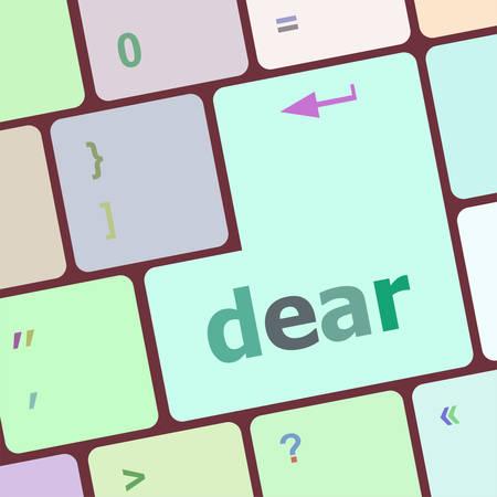 key pad: dear button on computer pc keyboard key vector illustration Illustration