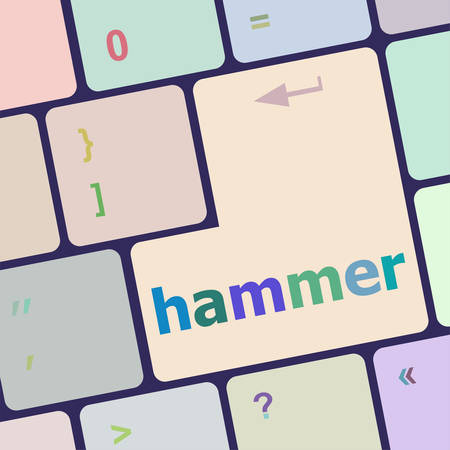 tommy: hammer word on computer pc keyboard key vector illustration